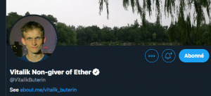 Compte Twitter de Vitalik Buterin