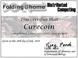 Curecoin Team Reaches 1,000,000,000,000 Points on Folding@home 102