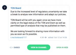 Le groupe privé de TON (Telegram) se met en pause 101