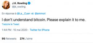 Quand J.K. Rowling, la créatrice d'Harry Potter, s'intéresse au Bitcoin via Twitter 102