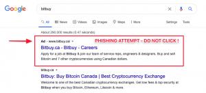 Tentatives de phishing via Google pour l'échange crypto canadien Bitbuy 102