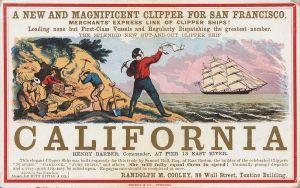 Un nouveau superbe clipper partant pour San Francisco, publicité pour le voyage vers la Californie publiée à New York dans les années 1850