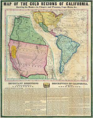 Une carte datant de 1849 montrant les itinéraires vers la Californie passant par le Panama et le cap Horn.