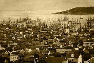 Les bateaux marchands remplissent le port de San Francisco harbor (1850–51) / Wikipedia