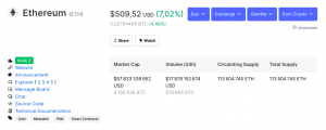 Le prix de l'Ether (ETH) passe la barre des 500$ 102