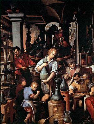 Le laboratoire de l'alchimiste (1551) de Jan van der Straet / Wikipedia