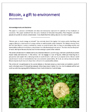Bitcoin, a gift to environment, de Laurent Bénichou