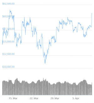 Bitcoin Spikes Above USD 61K, Ethereum Hits New ATH 102