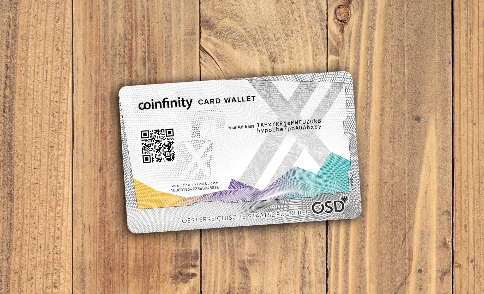 Coinfinity und die Österreichische Staatsdruckerei bringen die neue Card Wallet 0001