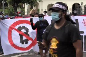 Demonstrators Hold Bitcoin Protest Outside El Salvador Parliament