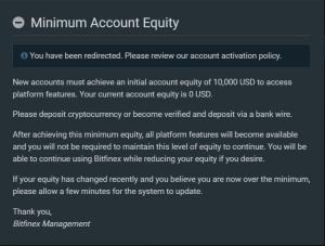 Bitfinex minimal equity