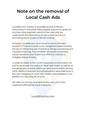 LocalBitcoins cash removal