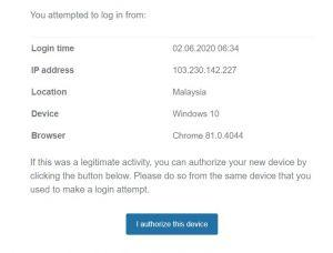 Kriptomat device authorization