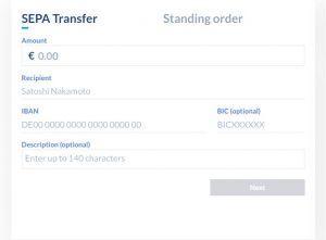 Bitwala SEPA-Übertragung