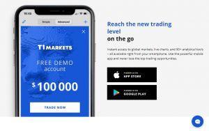 T1Markets mobile app
