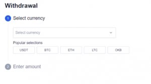 OKEx supported withdrawal methods