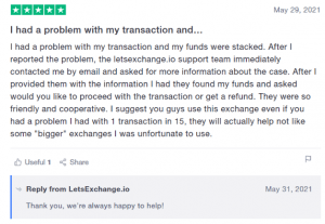 letsexchange review trustpilot1